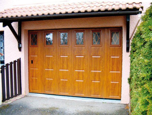 Porte de Garage Cassettes Chêne Doré Rustique
