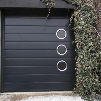 Porte de Garage Monorainurée avec Hublots Ronds Inox