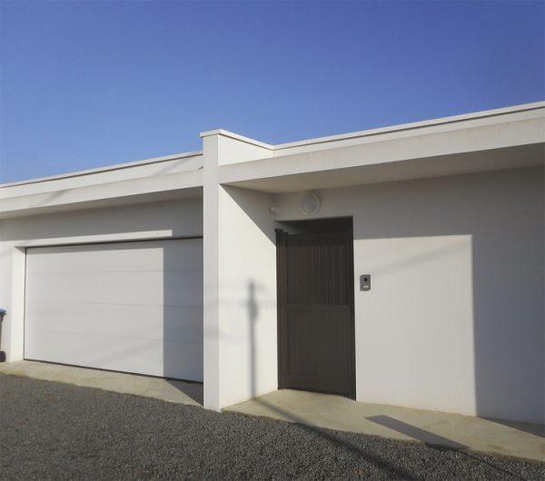 Porte de garage Sans rainure blanche