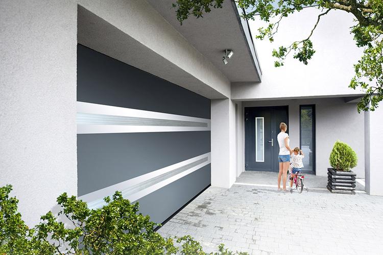 Porte de garage Visio-panoramique bicouleur polycarbonate opale