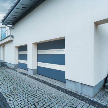 Portes de garage Visio-panoramique bi-couleur bleu-blanc la-toulousaine